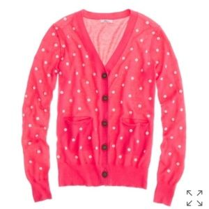 MADEWELL Wallace Pink and White Polka Dot Cardigan